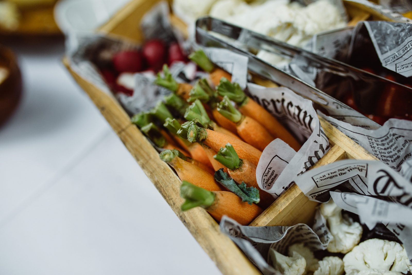 Crudite appetizers in rustic wooden bins lined with paper by Sage Catered Events at Ridgeland Mansion Philadelphia Wedding. Photo by Ali & Paul Co.