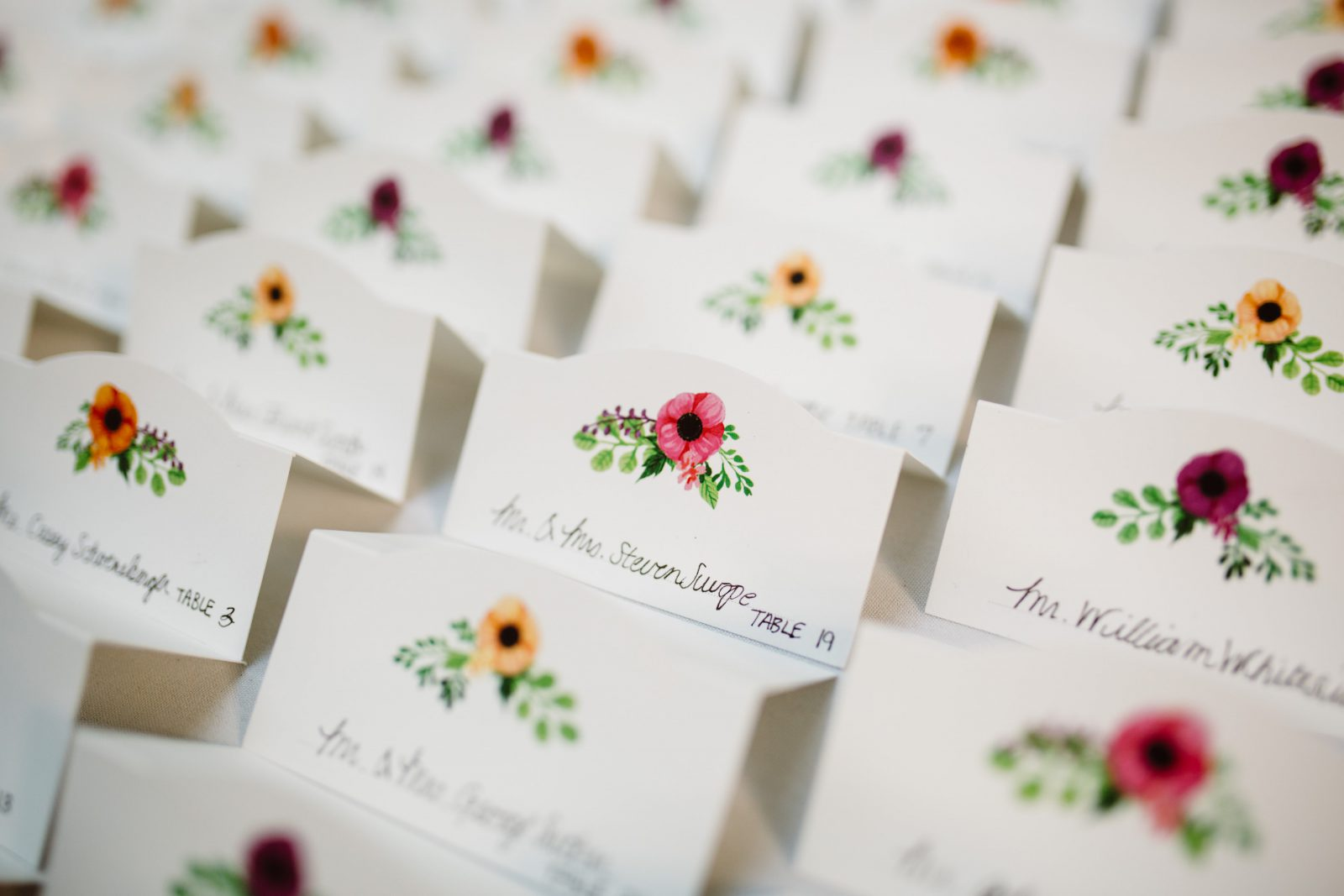 Floral Place Cards at Ridgeland Mansion Philadelphia Wedding. Photo by Ali & Paul Co.