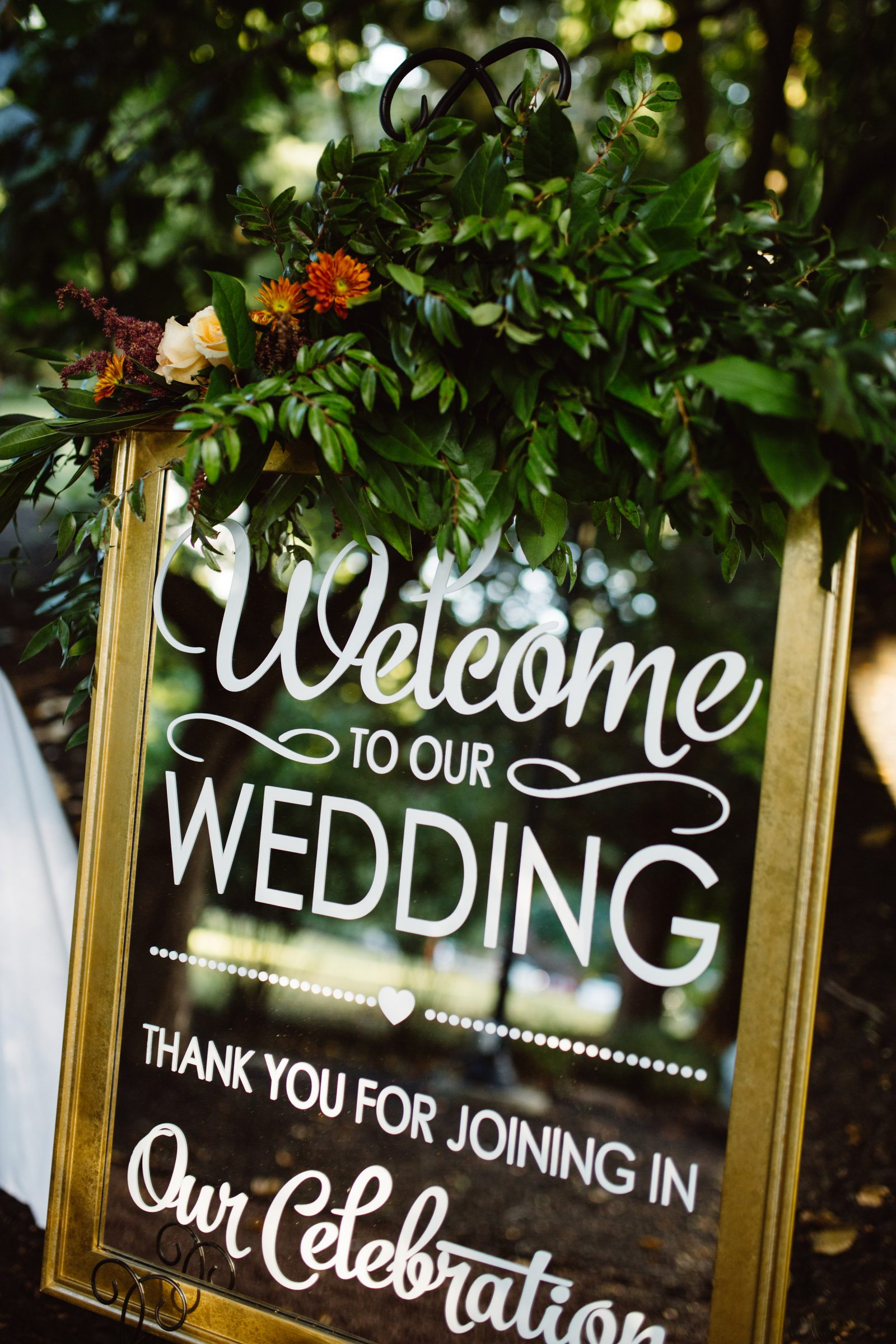 Welcome to Our Wedding Mirror Sign at Ridgeland Mansion Philadelphia Wedding. Photo by Ali & Paul Co.