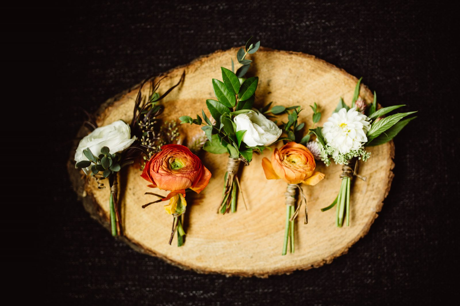 Fall ranunculus boutonnieres by Fresh Designs Florist at Ridgeland Mansion Philadelphia Wedding. Photo by Ali & Paul Co.