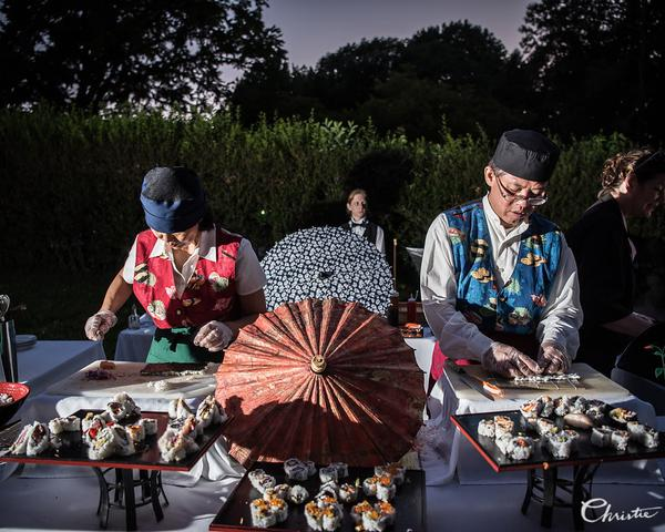 Made-to-order sushi at sushi station by Boscov's Ala Carte Catering at Greystone Hall Wedding. Photo by Christie Green Photography