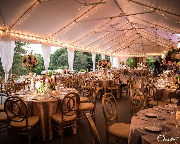 Classic and elegant tented wedding reception at Greystone Hall with gold chairs and flower centerpieces by Robertson's Flowers. Photo by Christie Green Photography