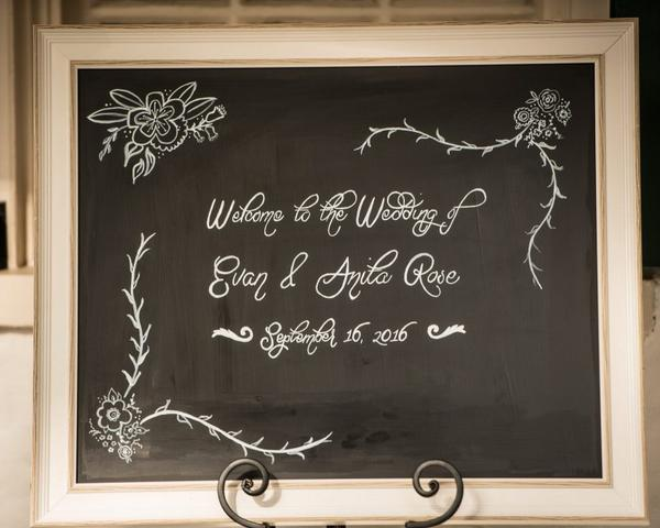 Wedding chalkboard sign with welcome message and wedding date. Photo by Christie Green Photography