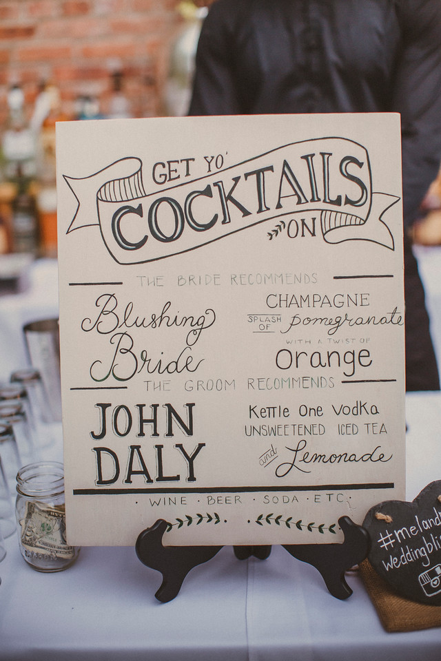 Bride and groom signature wedding cocktails: Blushing Bride and John Daly. Sign by La Luna by Sierra. Photo by Forged in the North