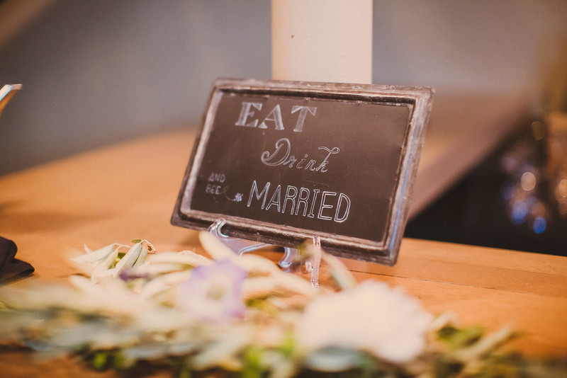 Eat Drink and Bee Married wedding chalkboard sign by La Luna by Sierra. Photo by Forged in the North