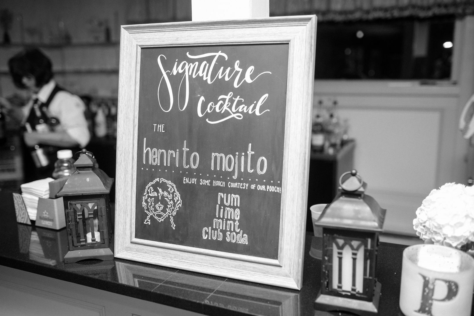 Henrito Mojito wedding signature cocktail chalkboard sign by La Luna by Sierra featuring hooch courtesy of the couples pooch. Photo by Christian Gideon Photography