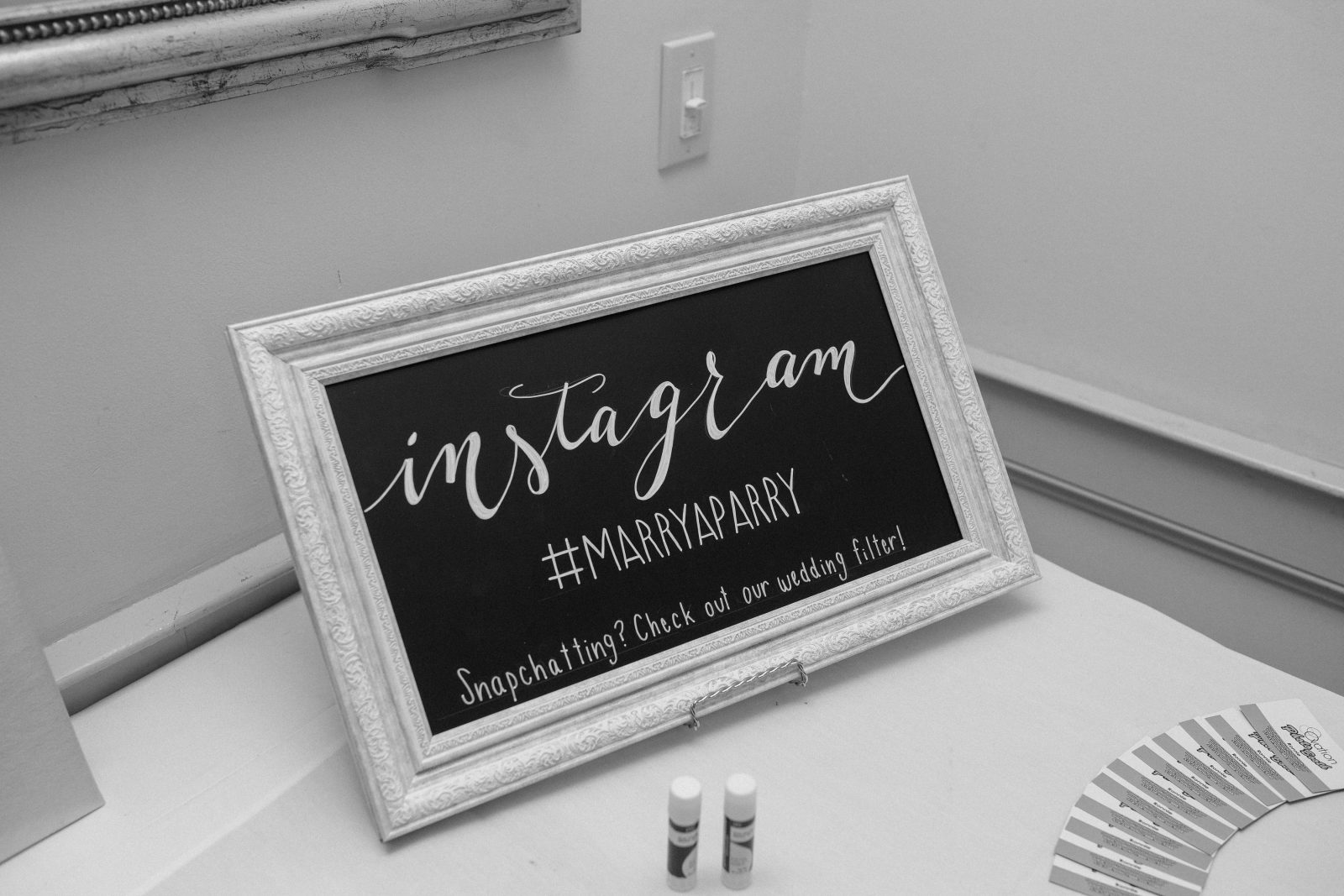 Instagram Wedding Hashtag Chalkboard Sign by La Luna by Sierra. Photo by Christian Gideon Photography