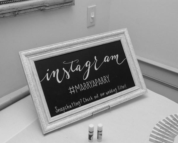 Instagram Wedding Hashtag Chalkboard Sign by La Luna by Sierra. Photo by Christian Gideon Photography