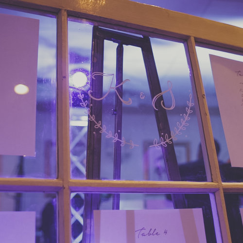 Initialed Windowpane at Timber Point Mansion Wedding