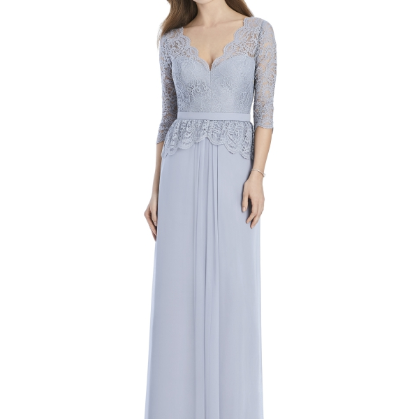 Jenny Packham by The Dessy Group, Pale Blue Bridesmaid Dress with lace sleeves – Front