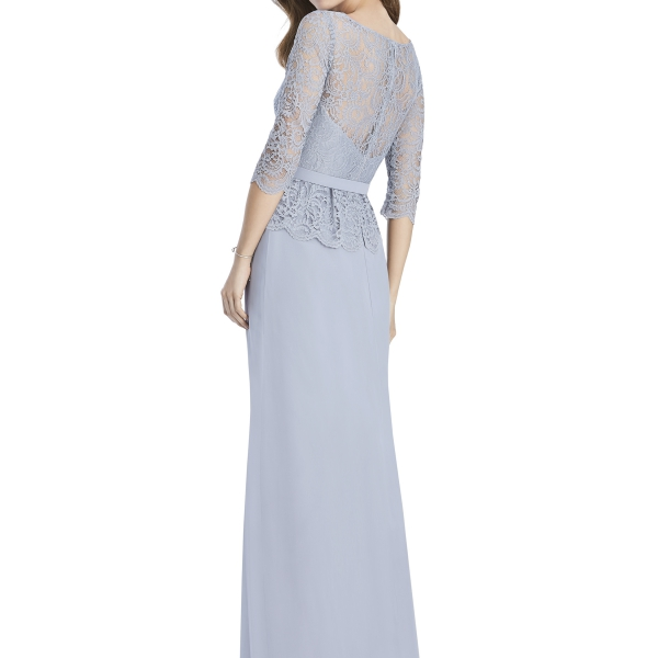 Jenny Packham by The Dessy Group, Pale Blue Bridesmaid Dress with lace sleeves – Back