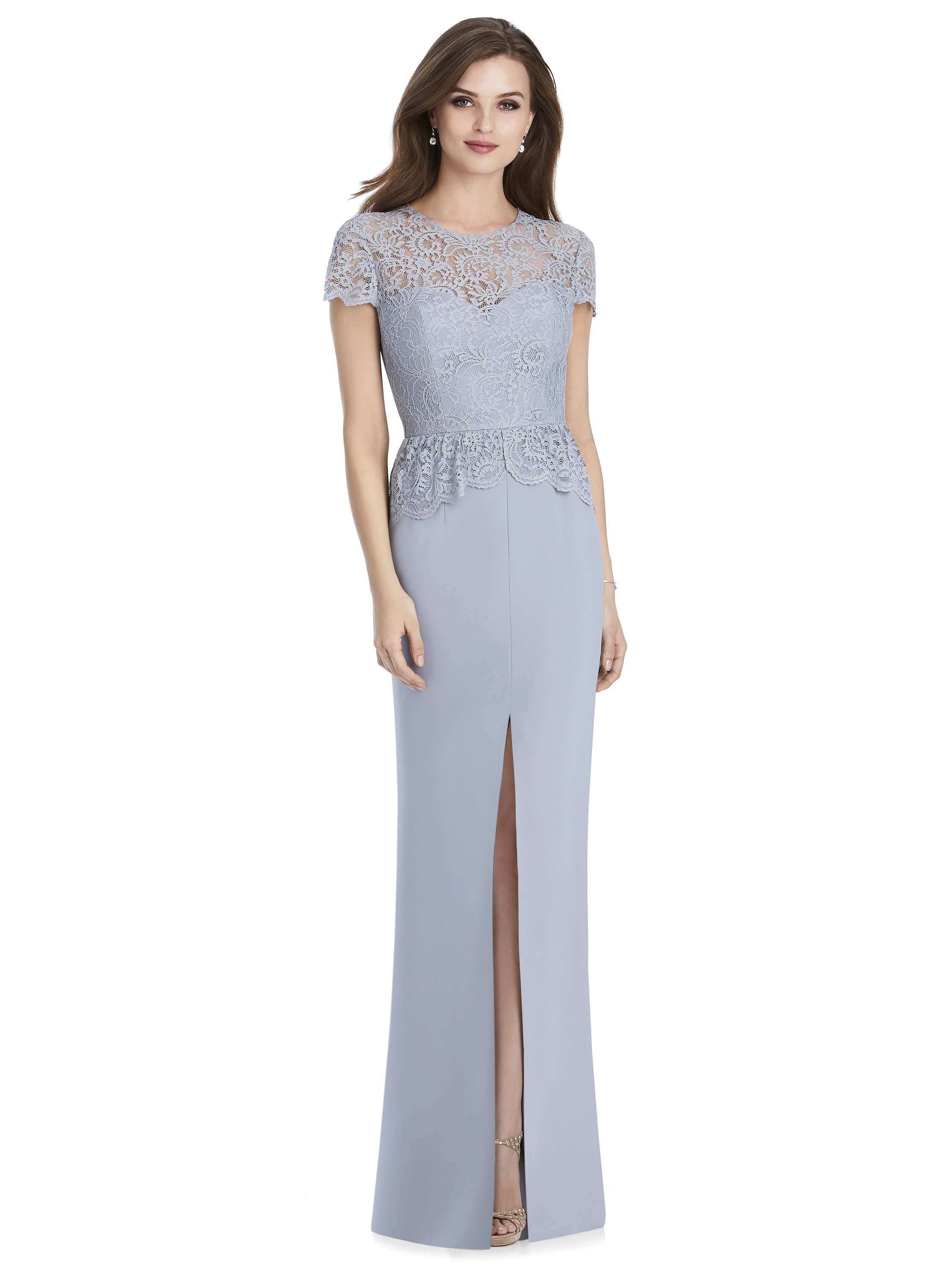 Jenny Packham by The Dessy Group, Pale Blue Bridesmaid Dress with lace cap sleeves – Front