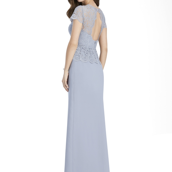 Jenny Packham by The Dessy Group, Pale Blue Bridesmaid Dress with lace cap sleeves – Back