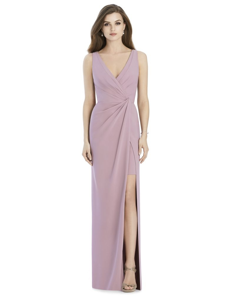 Jenny Packham by The Dessy Group, Light Purple Bridesmaid Dress with slit – Front