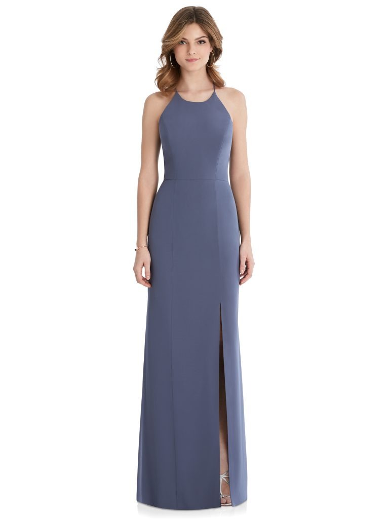 Periwinkle Bridesmaids Dress with leg slit and criss-cross back, Dessy Group by The Dessy Group – Front