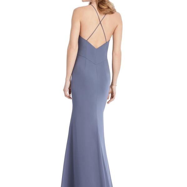 Periwinkle Bridesmaids Dress with leg slit and criss-cross, Dessy Group by The Dessy Group – Back