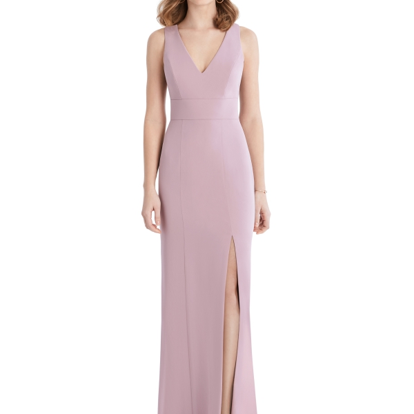 Mauve Bridesmaids Dress with leg slit and criss-cross, Dessy Group by The Dessy Group – Front