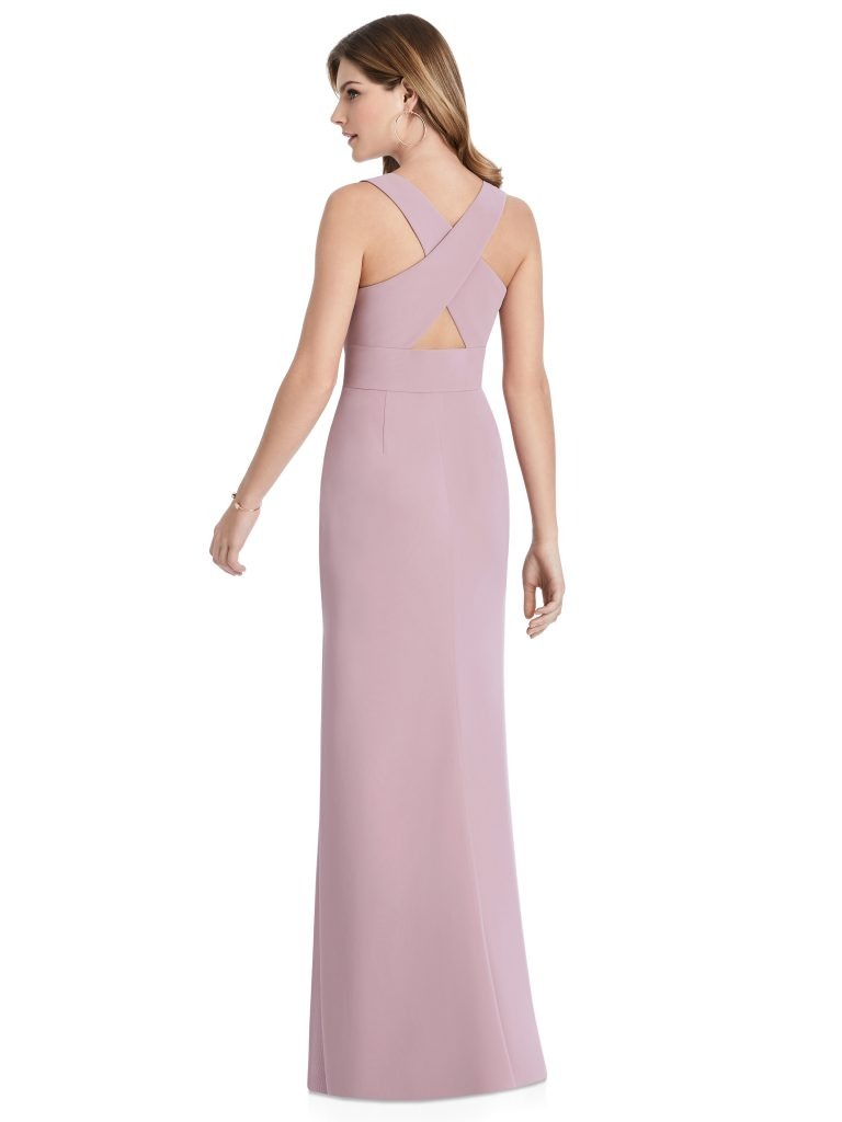 Mauve Bridesmaids Dress with leg slit and criss-cross, Dessy Group by The Dessy Group – Back