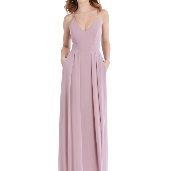 Mauve Bridesmaids Dress with pockets and criss-cross back, Dessy Group by The Dessy Group – Front