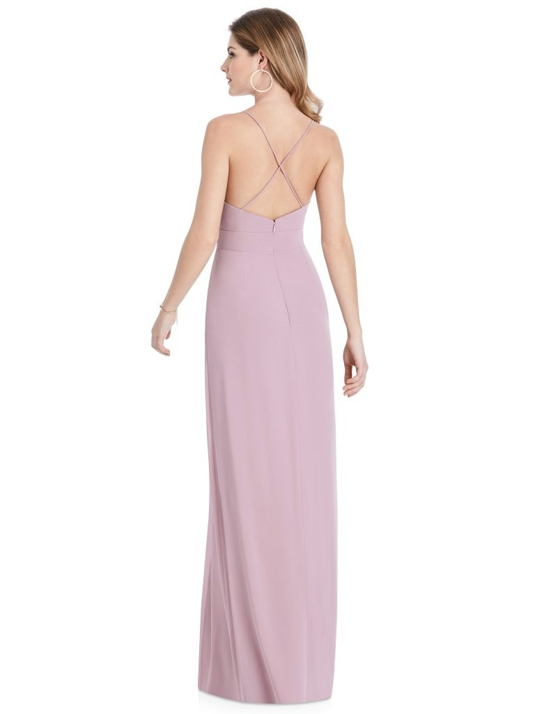 Mauve Bridesmaids Dress with pockets and criss-cross back, Dessy Group by The Dessy Group – Back