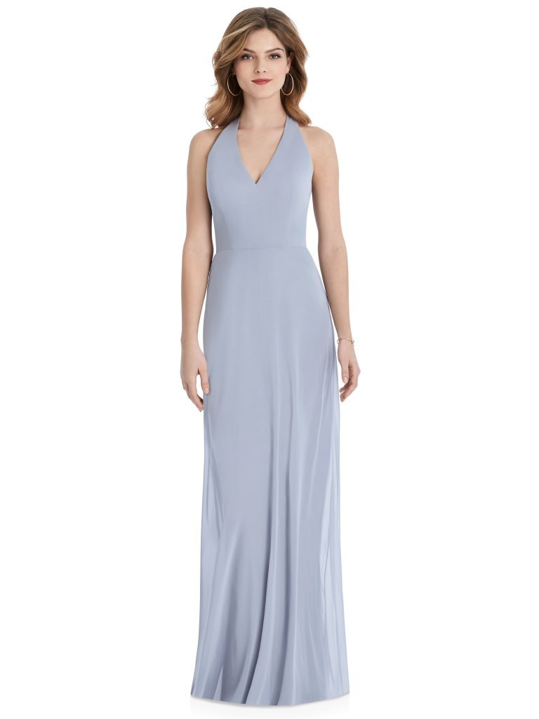 Light Periwinkle Bridesmaids Dress with v-cut, Dessy Group by The Dessy Group – Front
