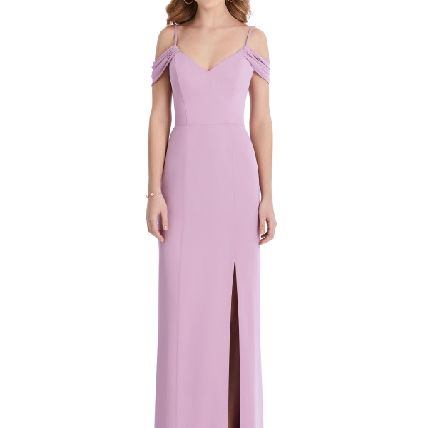 Pink Bridesmaids Dress off the shoulders, Dessy Group by The Dessy Group – Front