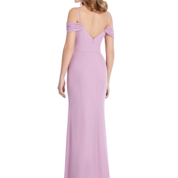 Pink Bridesmaids Dress off the shoulders, Dessy Group by The Dessy Group – Back