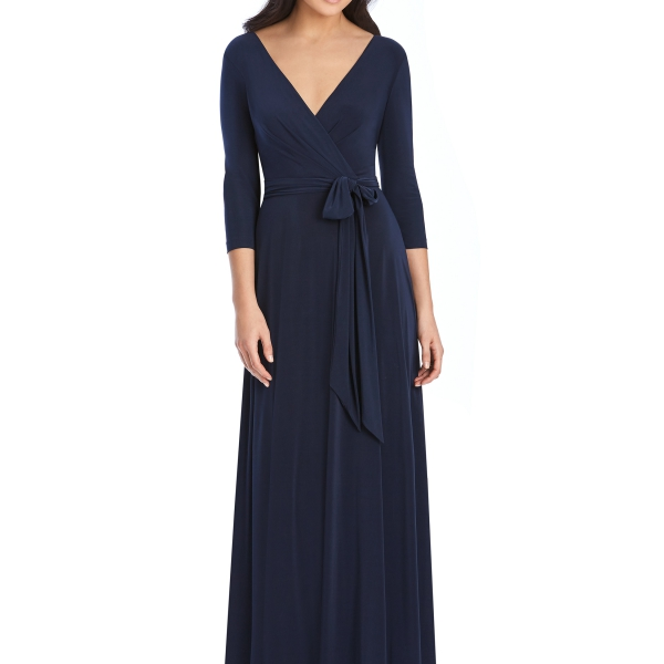 Navy Bridesmaids Dress – wrap dress with sleeves, Dessy Group by The Dessy Group – Front
