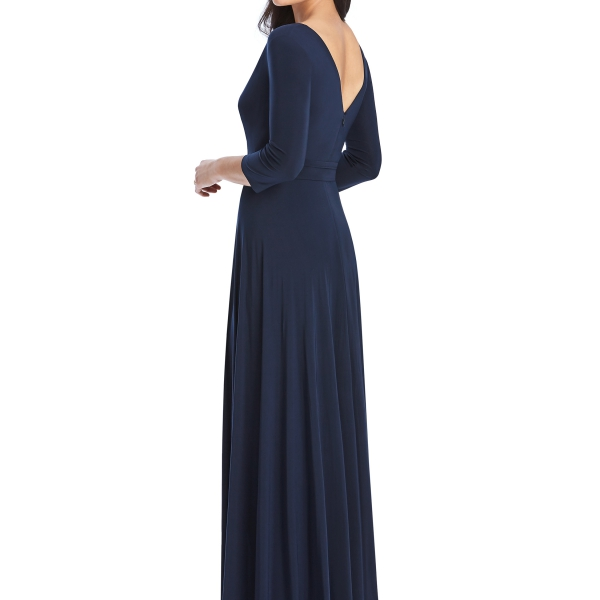 Navy Bridesmaids Dress – wrap dress with sleeves, Dessy Group by The Dessy Group – Back