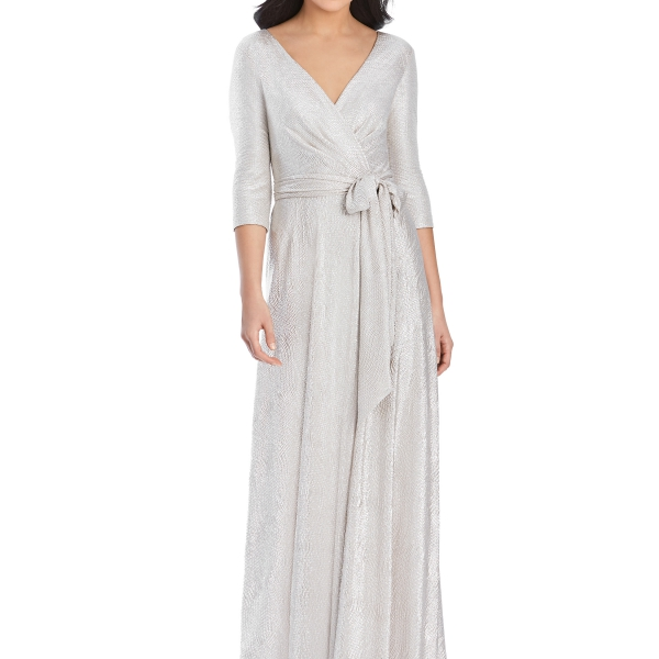 Silver Bridesmaids Dress – wrap dress with sleeves, Dessy Group by The Dessy Group – Front