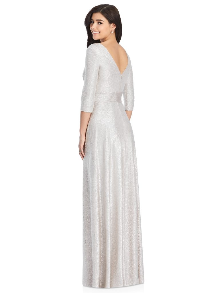 Silver Bridesmaids Dress – wrap dress with sleeves, Dessy Group by The Dessy Group – Back