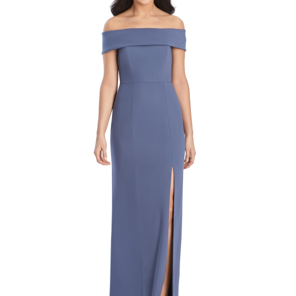 Indigo Bridesmaids Dress – off the shoulders, Dessy Group by The Dessy Group – Front
