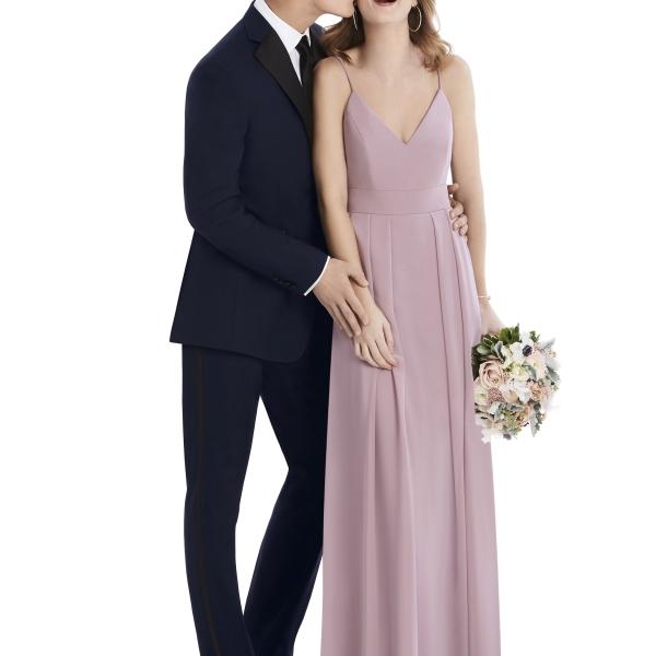 After Six Tuxedo Rental, Navy Suit with Light Purple Bridesmaids Dress