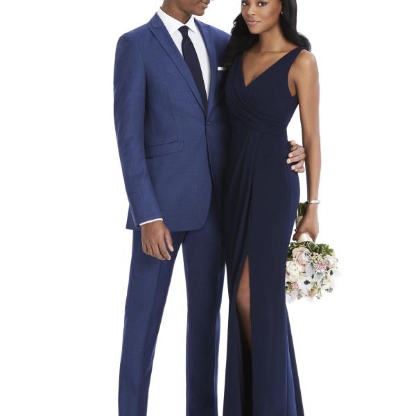 After Six Tuxedo Rental, Blue Suit with Navy Bridesmaids Dress