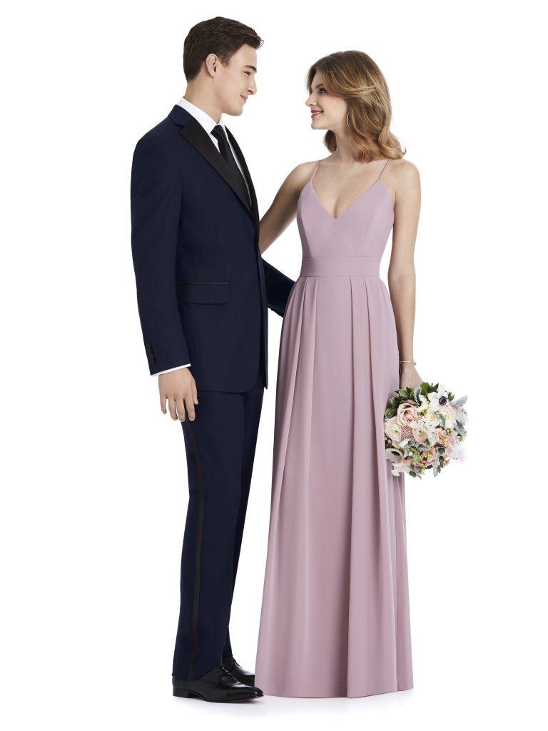 After Six Tuxedo Rental, Navy Suit with Pale Purple Bridesmaids Dress