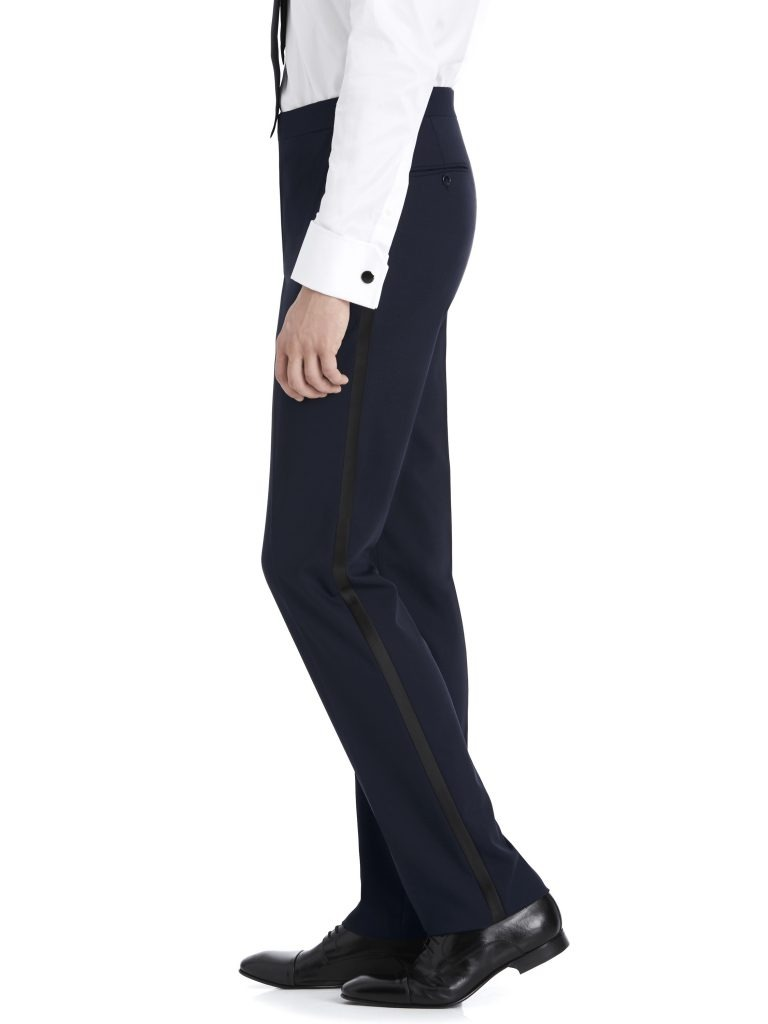 After Six Suit Rental – Navy Suit Pants with black stripe down side – Side