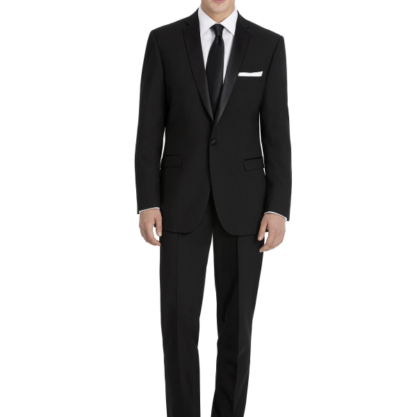 Modern Black Suit Rental with White Shirt by After Six – Front