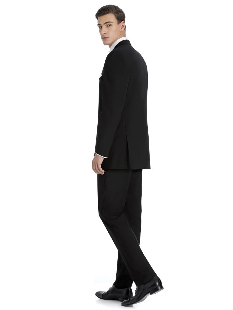 Modern Black Suit Rental with White Shirt by After Six – Back