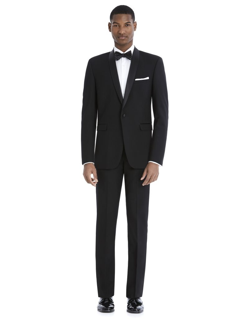 Modern Black Tuxedo Rental with White Shirt and Bowtie by After Six – Front