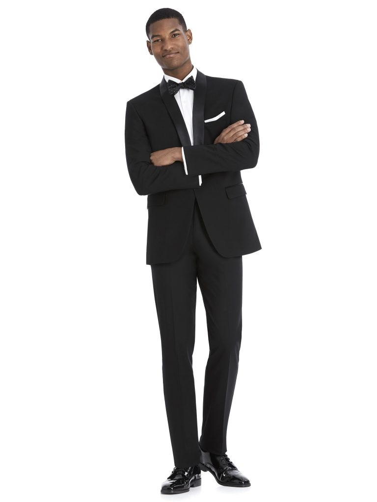Modern Black Tuxedo Rental with White Shirt and Bowtie by After Six – Front – alt