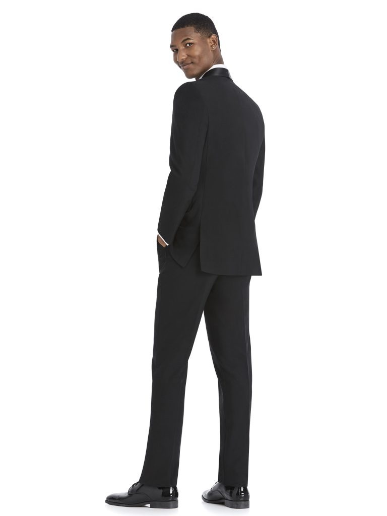 Modern Black Tuxedo Rental with White Shirt and Bowtie by After Six – Back – alt