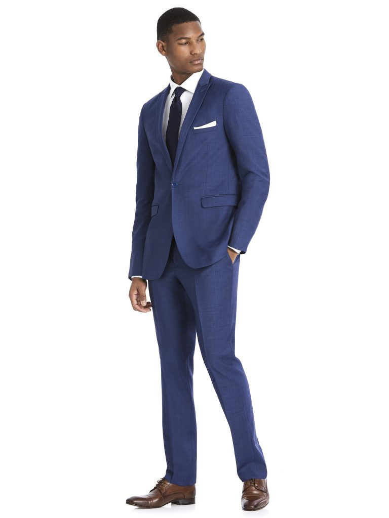 Modern Blue Suit Rental with White Shirt and Black Tie by After Six – Front