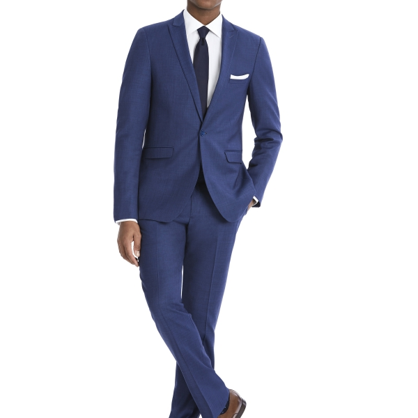 Modern Blue Suit Rental with White Shirt and Black Tie by After Six – Back