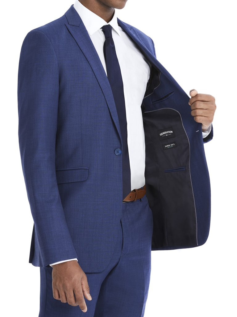 Modern Blue Suit Rental with White Shirt and Black Tie by After Six – Inside Pocket
