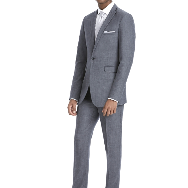 Modern Grey Suit Rental with White Shirt and White Tie by After Six – Front