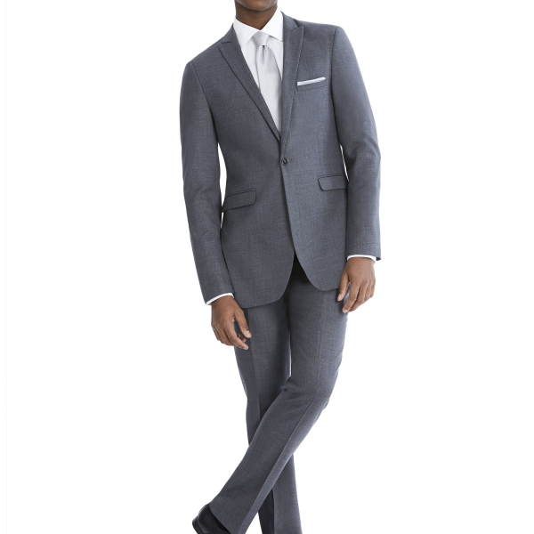Modern Grey Suit Rental with White Shirt and White Tie by After Six – Back