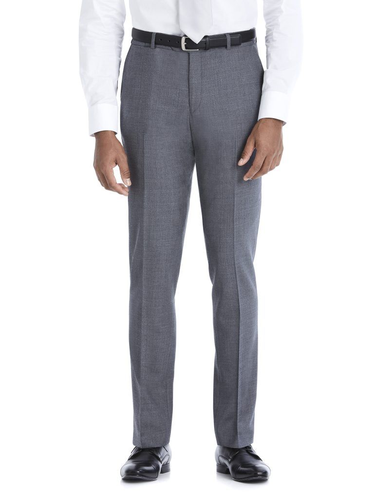 Modern Grey Suit Rental with White Shirt and White Tie by After Six – Pants – Front