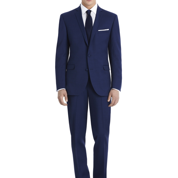 Modern Dark Navy Suit Rental with White Shirt and Navy Tie by After Six – Front