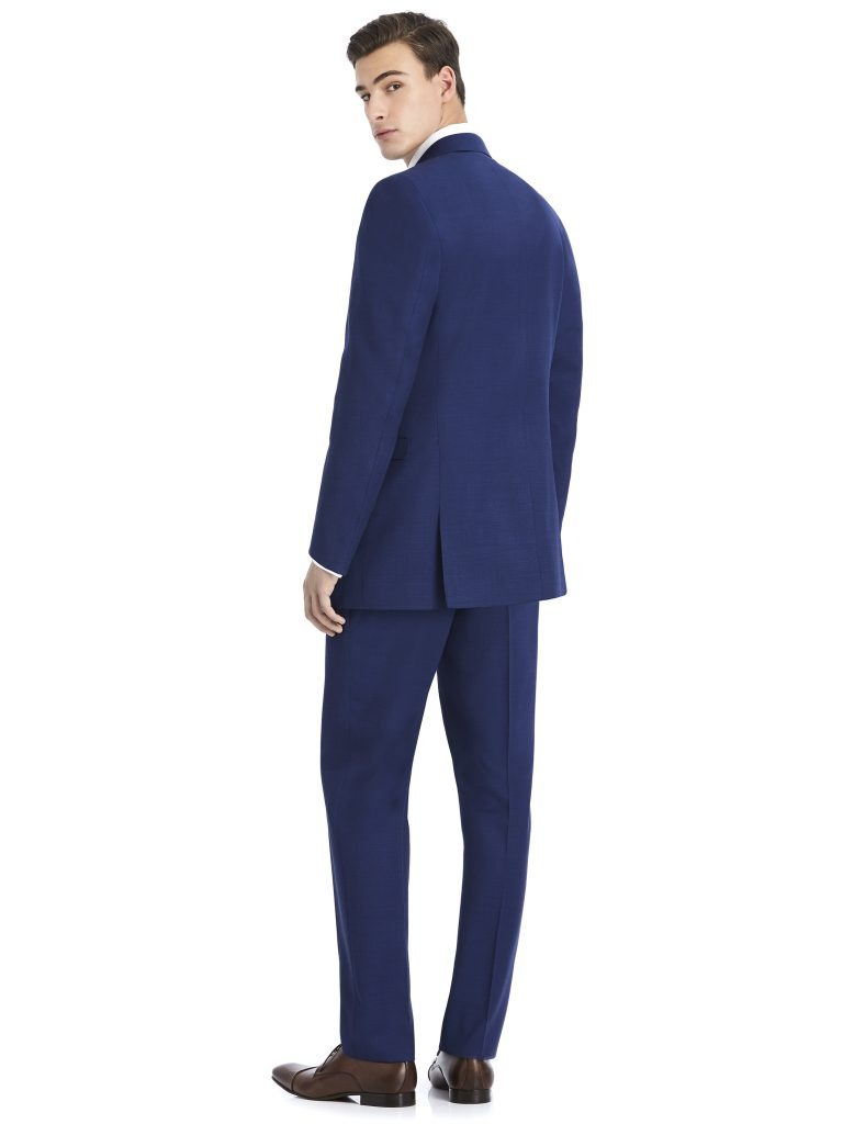 Modern Dark Navy Suit Rental with White Shirt and Navy Tie by After Six – Back