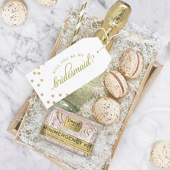 Bridesmaid proposal box champagne, emergency kit, and french macarons